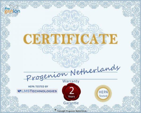 PR-950 uv hepa certificaat